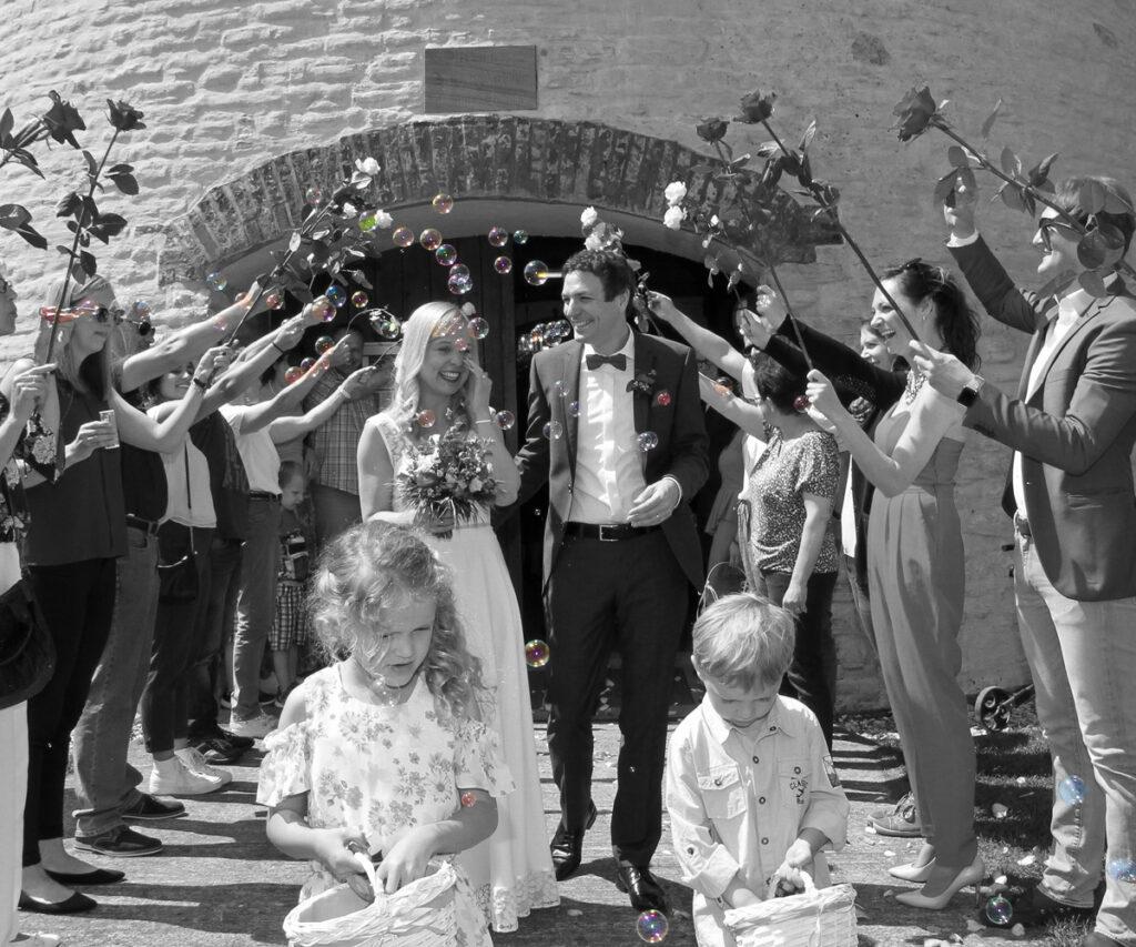 Fotograf Beckum Hochzeit Ausmarsch Schwarzweiß